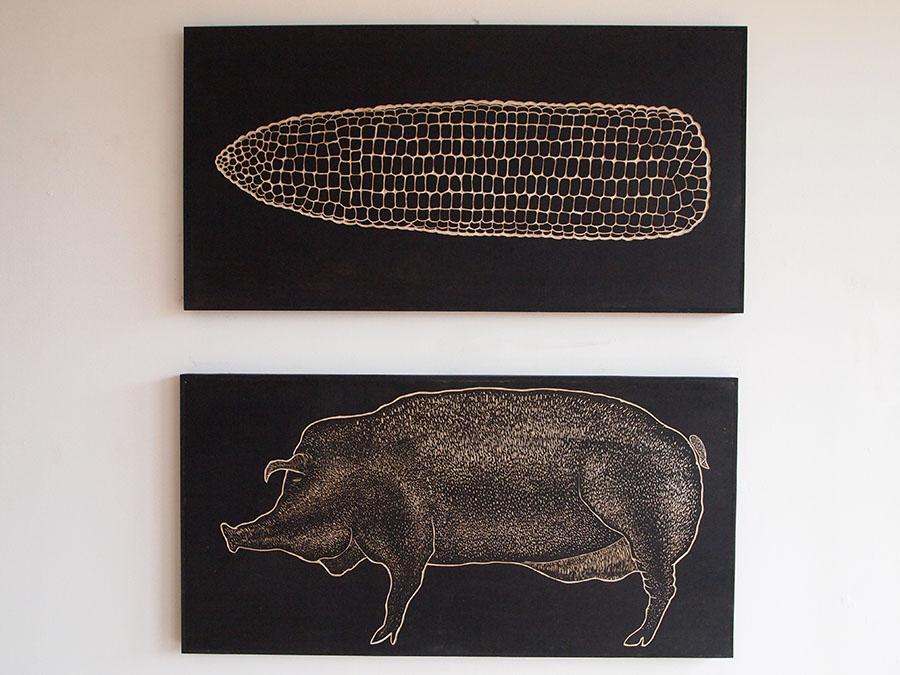 Corn and Pig, 2012, Ink on wood ©Glen MacKinnon